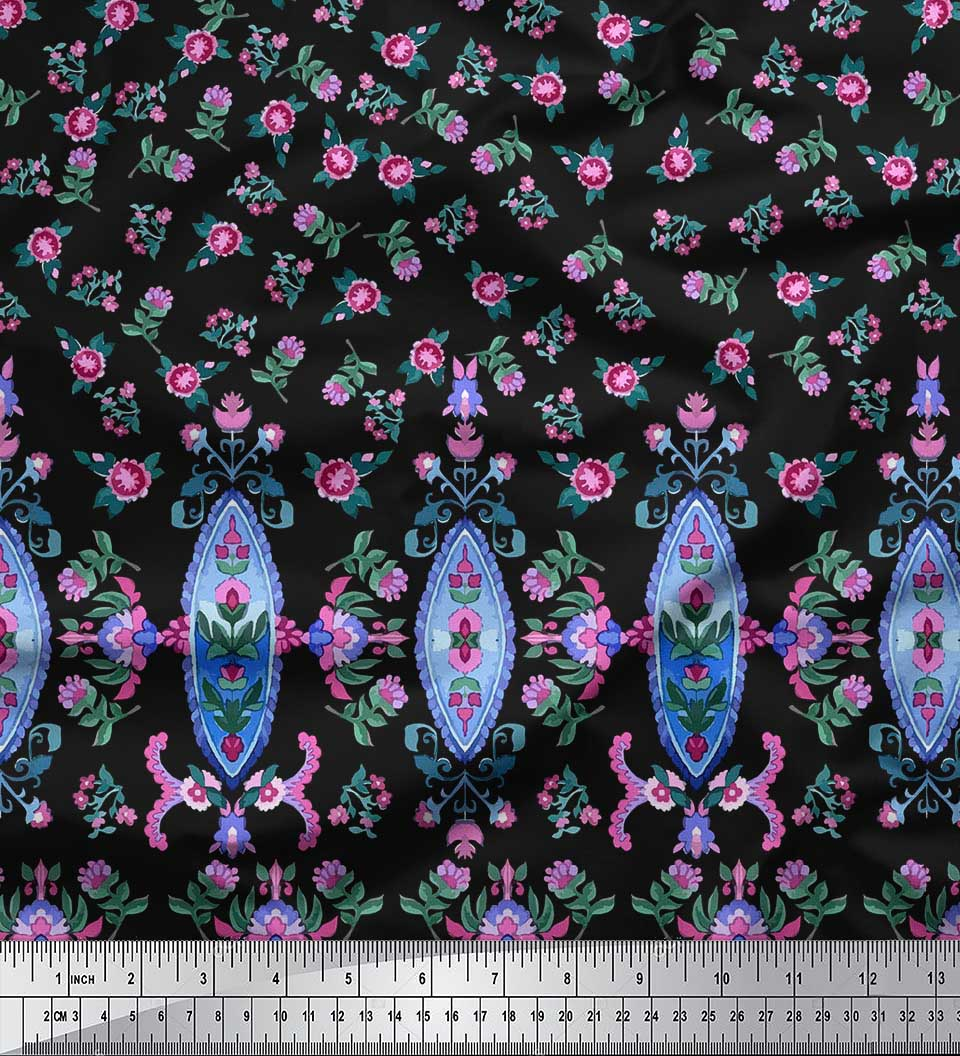 Soimoi-Cotton-Poplin-Fabric-Floral-amp-Leaves-Panel-Print-Fabric-by-IMg thumbnail 3