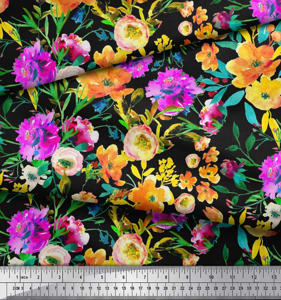 Soimoi-Cotton-Poplin-Fabric-Flower-amp-Leaves-Watercolor-Printed-Fabric-Oxu thumbnail 4