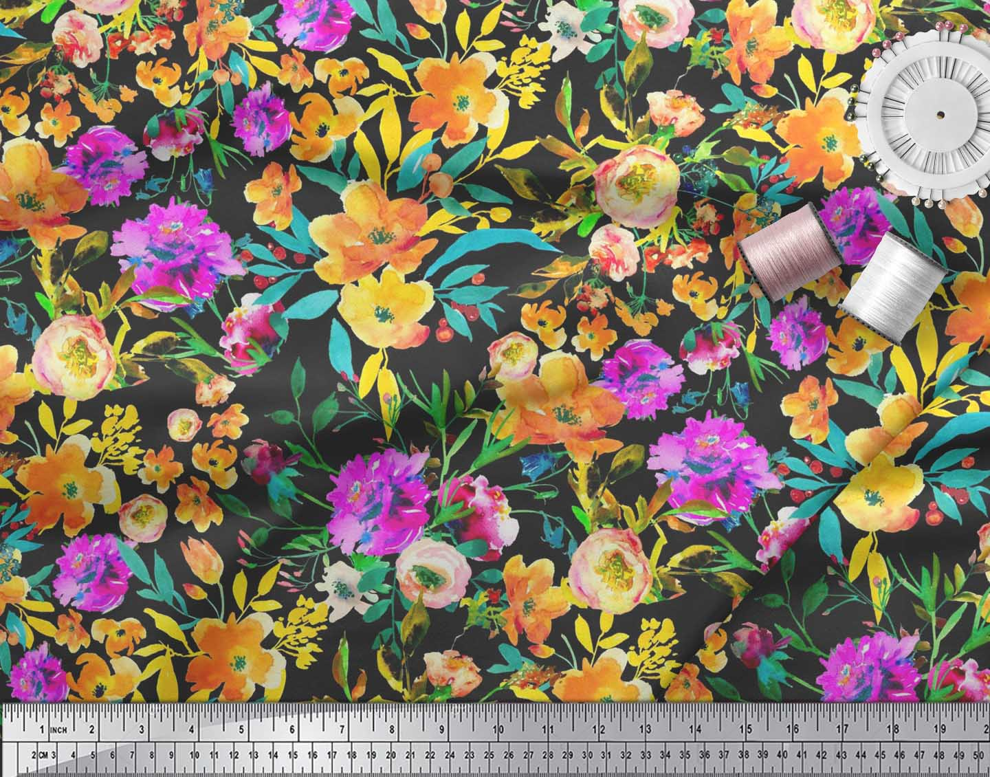 Soimoi-Cotton-Poplin-Fabric-Flower-amp-Leaves-Watercolor-Printed-Fabric-Oxu thumbnail 3