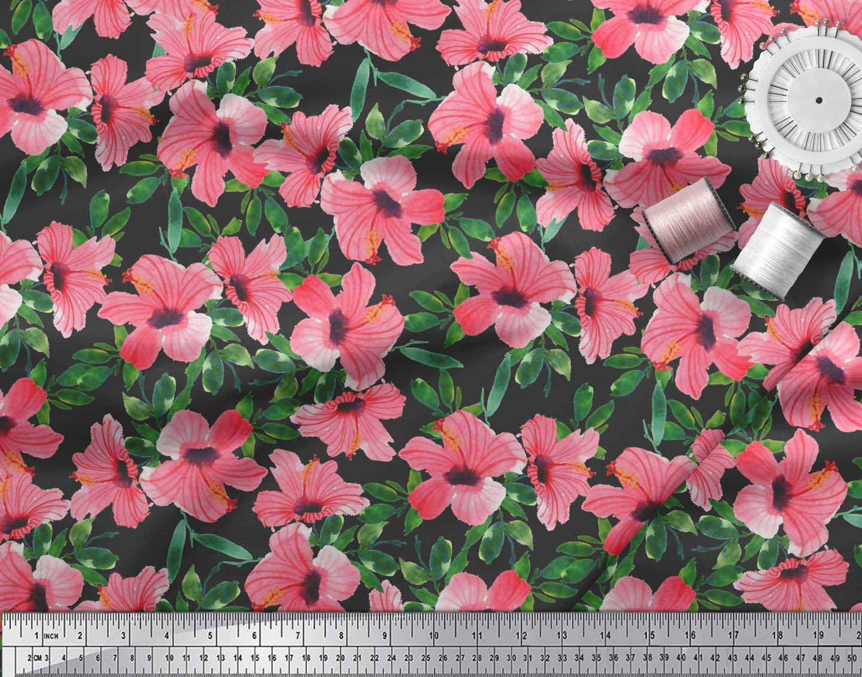 Soimoi-Cotton-Poplin-Fabric-Flower-amp-Leaves-Watercolor-Print-Fabric-z8a thumbnail 4