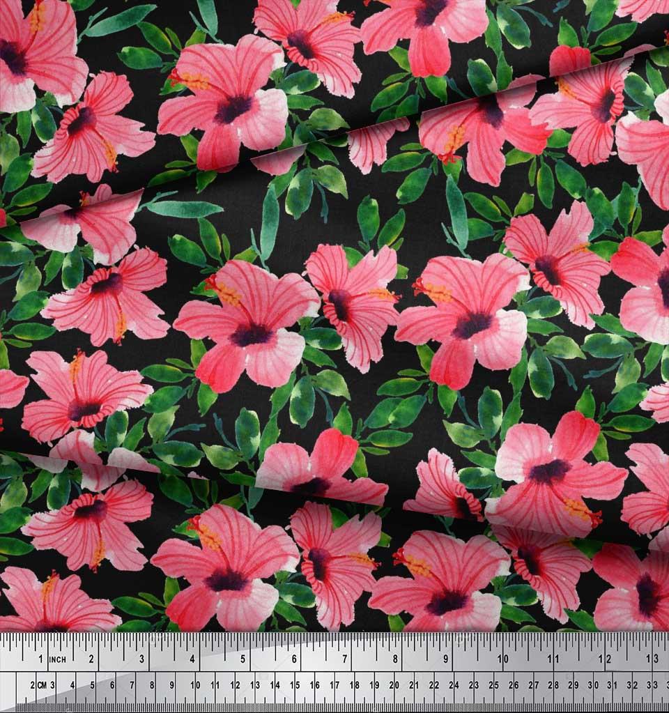 Soimoi-Cotton-Poplin-Fabric-Flower-amp-Leaves-Watercolor-Print-Fabric-z8a thumbnail 3
