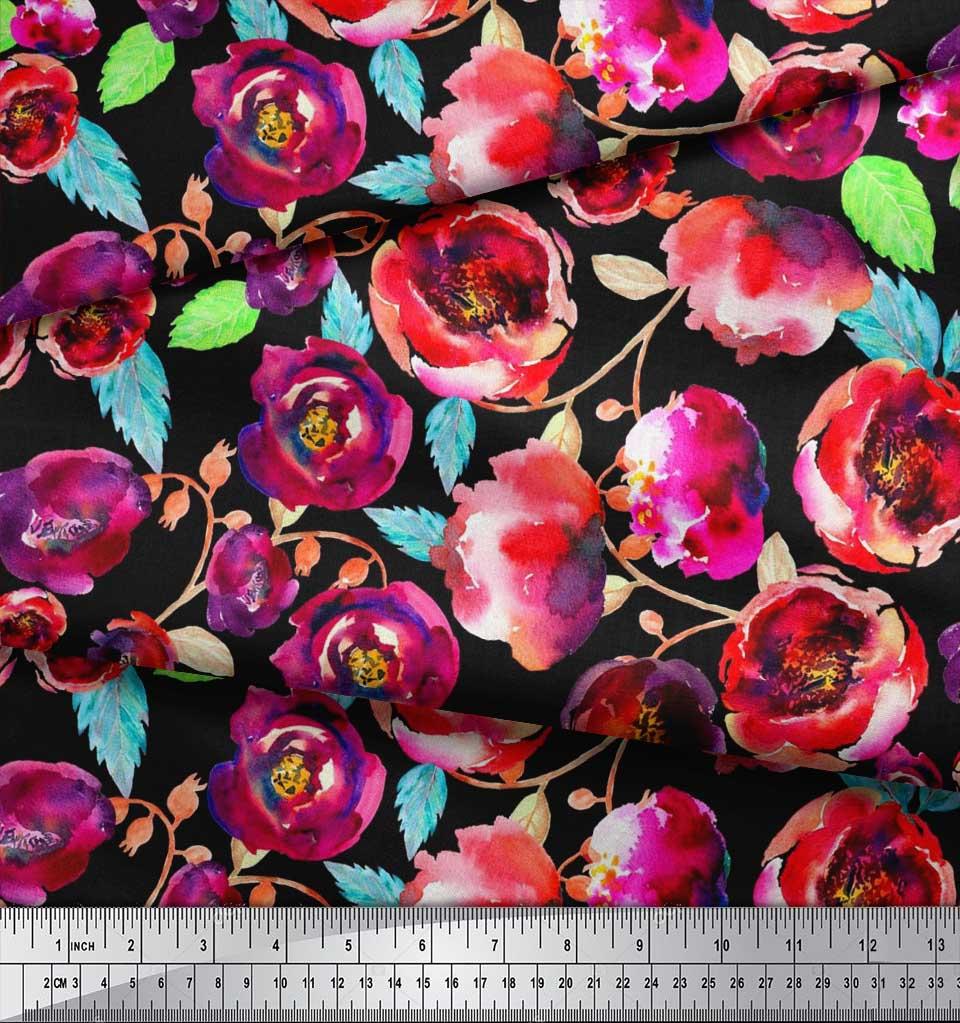 Soimoi-Cotton-Poplin-Fabric-Flower-amp-Leaves-Watercolor-Print-Fabric-3ip thumbnail 3