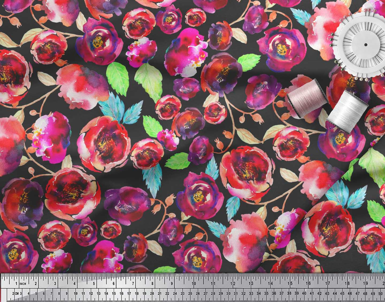 Soimoi-Cotton-Poplin-Fabric-Flower-amp-Leaves-Watercolor-Print-Fabric-3ip thumbnail 4