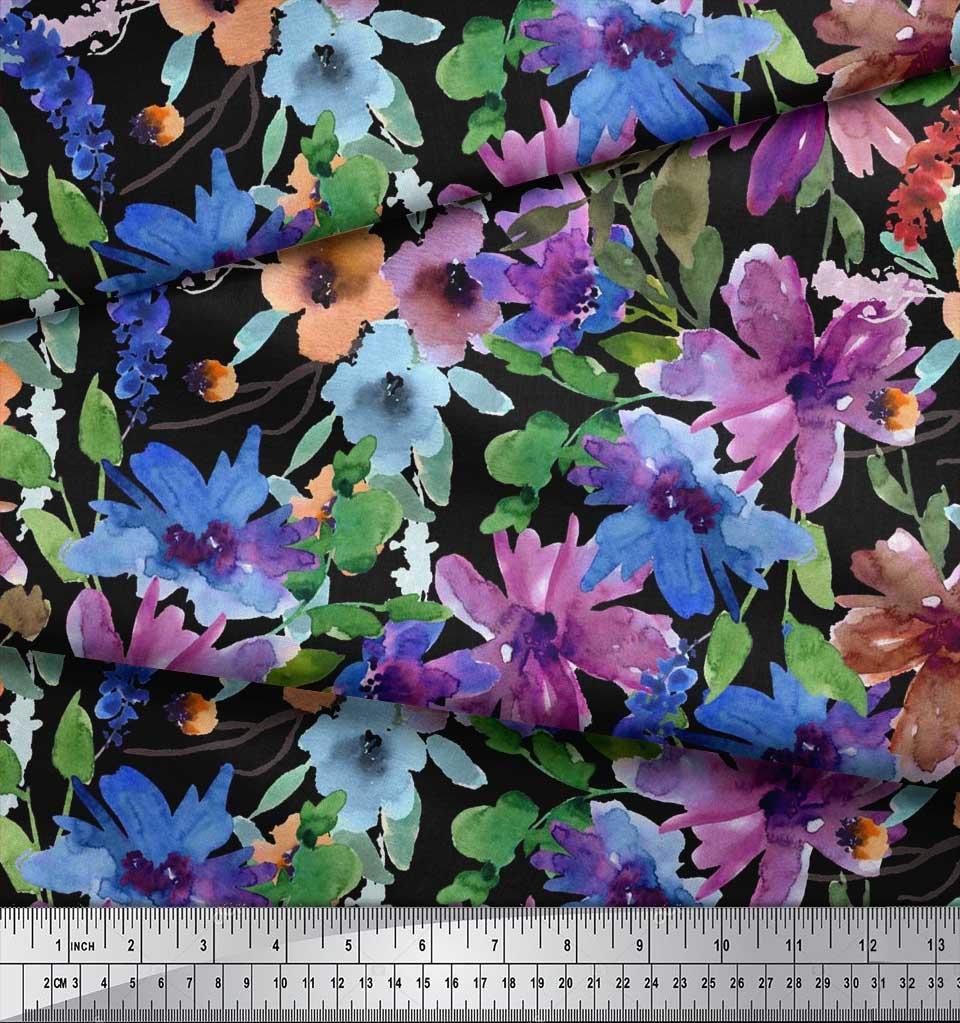 Soimoi-Black-Cotton-Poplin-Fabric-Flower-amp-Leaves-Watercolor-Fabric-9xV thumbnail 3
