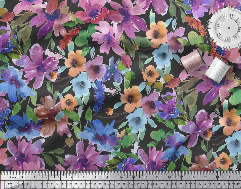 Soimoi-Black-Cotton-Poplin-Fabric-Flower-amp-Leaves-Watercolor-Fabric-9xV thumbnail 4