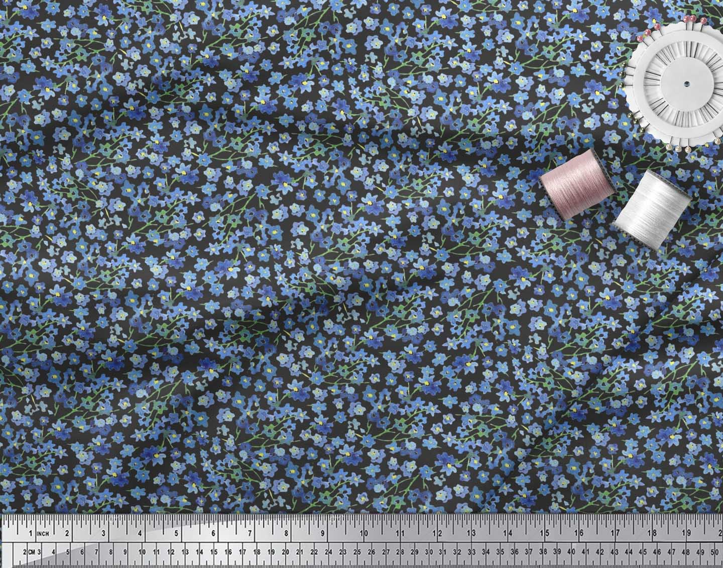 Soimoi-Black-Cotton-Poplin-Fabric-Flower-Watercolor-Print-Fabric-3lc thumbnail 3