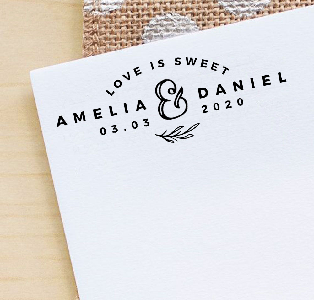 7be20f968c151 Details about Printtoo Personalized Black Self Inking Love Is Sweet Stamp  Custom-WF-PHS510A