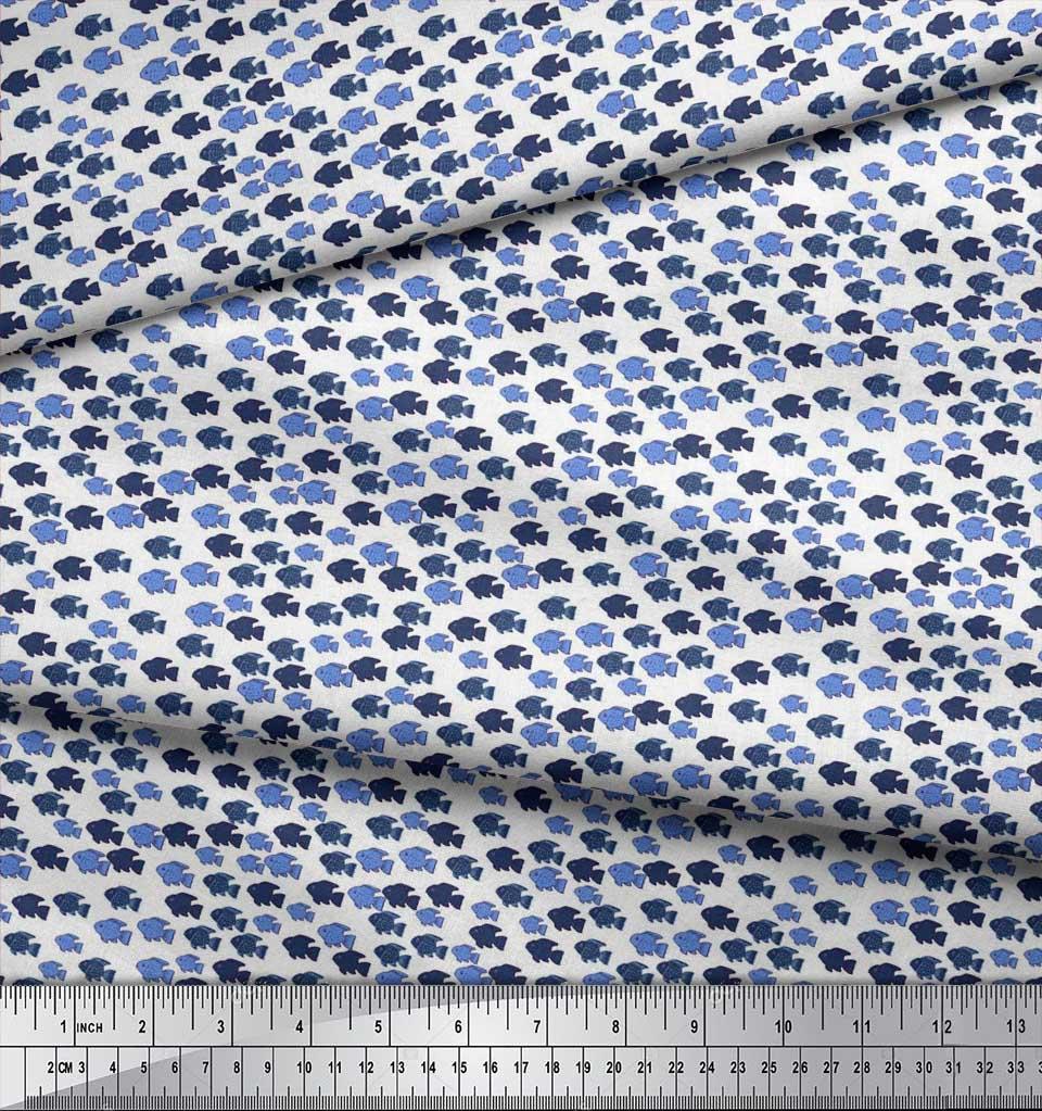 Soimoi-Cotton-Poplin-Fabric-Fish-Ocean-Printed-Fabric-1-metre-42-tgQ thumbnail 3