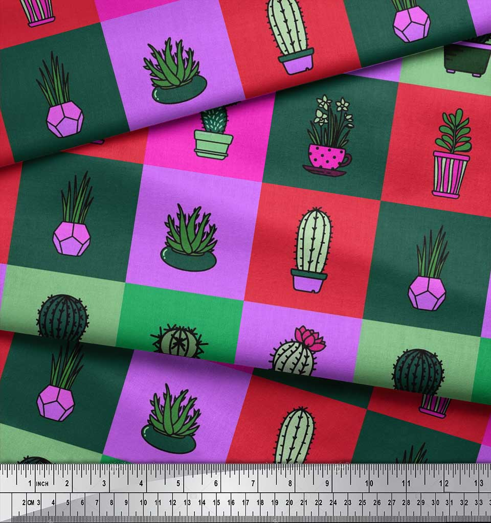Soimoi-Cotton-Poplin-Fabric-Cactus-Tree-Print-Fabric-by-the-metre-cjO thumbnail 3