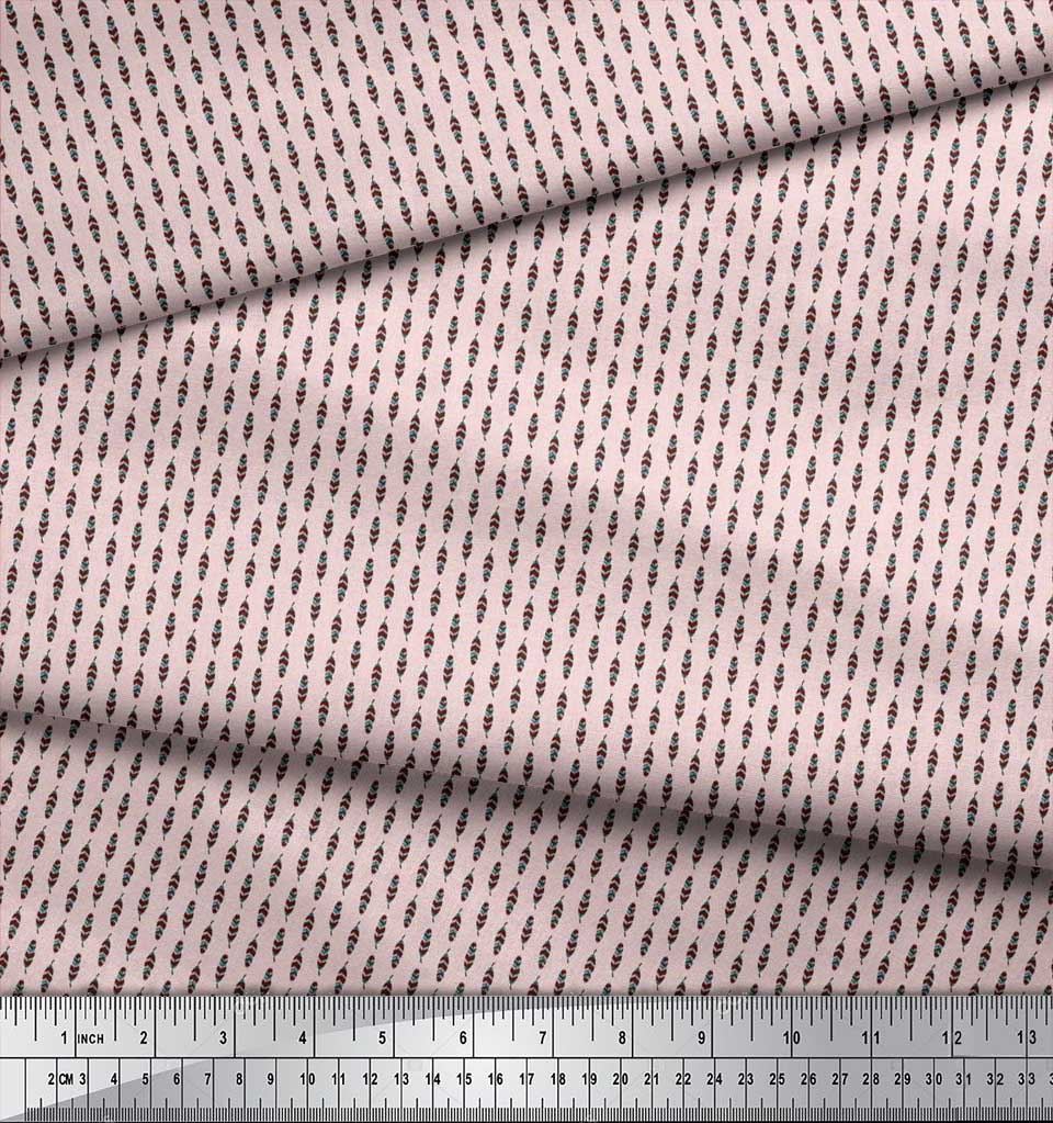 Soimoi-Cotton-Poplin-Fabric-Artistic-Feather-Print-Sewing-Fabric-J2u thumbnail 3