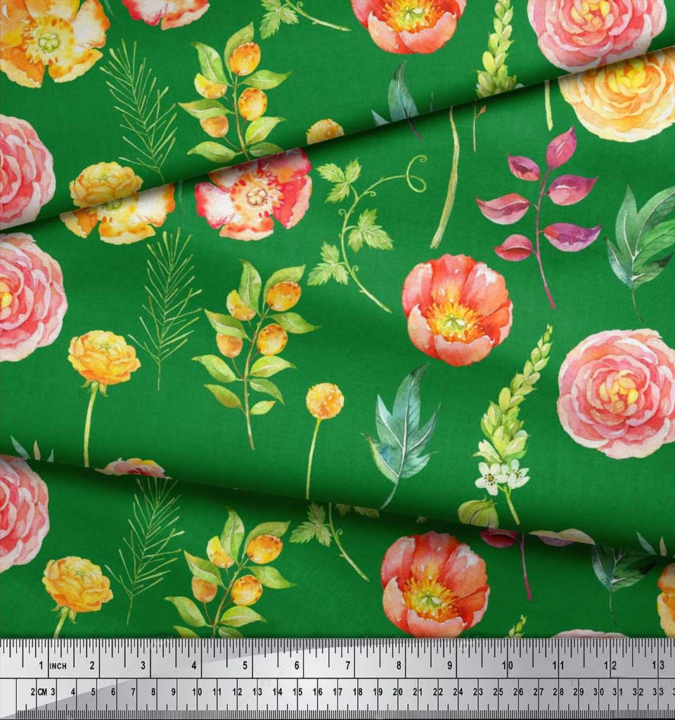Soimoi-Cotton-Poplin-Fabric-Leaves-amp-Begonia-Floral-Printed-Fabric-ZYt thumbnail 3