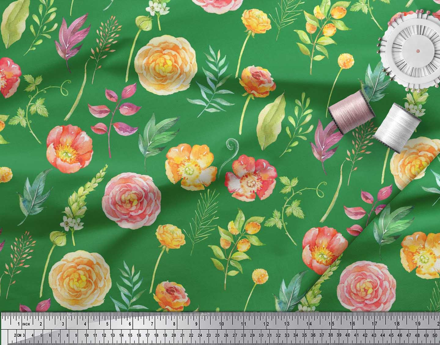 Soimoi-Cotton-Poplin-Fabric-Leaves-amp-Begonia-Floral-Printed-Fabric-ZYt thumbnail 4