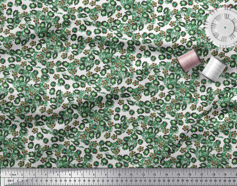 Soimoi-Green-Cotton-Poplin-Fabric-Flower-Watercolor-Printed-Craft-jcO thumbnail 3