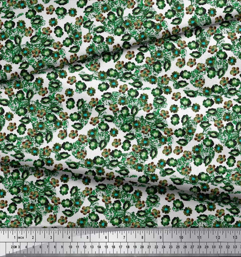 Soimoi-Green-Cotton-Poplin-Fabric-Flower-Watercolor-Printed-Craft-jcO thumbnail 4