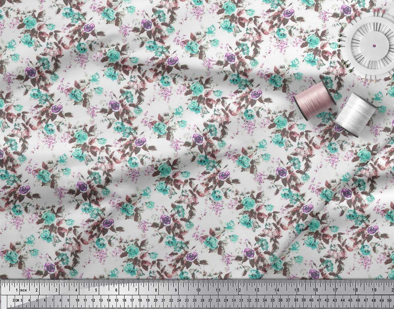 Soimoi-Cotton-Poplin-Fabric-Leaves-amp-Rose-Watercolor-Fabric-Prints-sGW thumbnail 3
