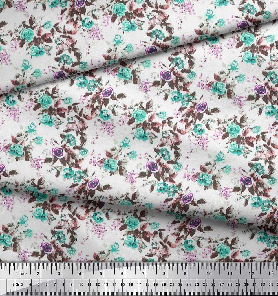 Soimoi-Cotton-Poplin-Fabric-Leaves-amp-Rose-Watercolor-Fabric-Prints-sGW thumbnail 4