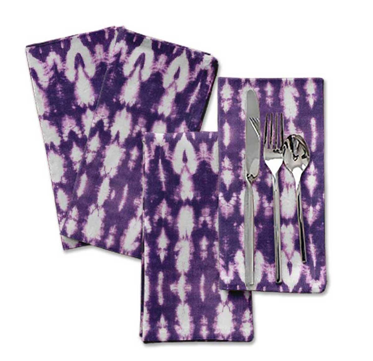 100/% Cotton Blue Shibori Dinner Table Linen Re-Usable Printed Decor Napkins Set 20 x 20 Pack of 6