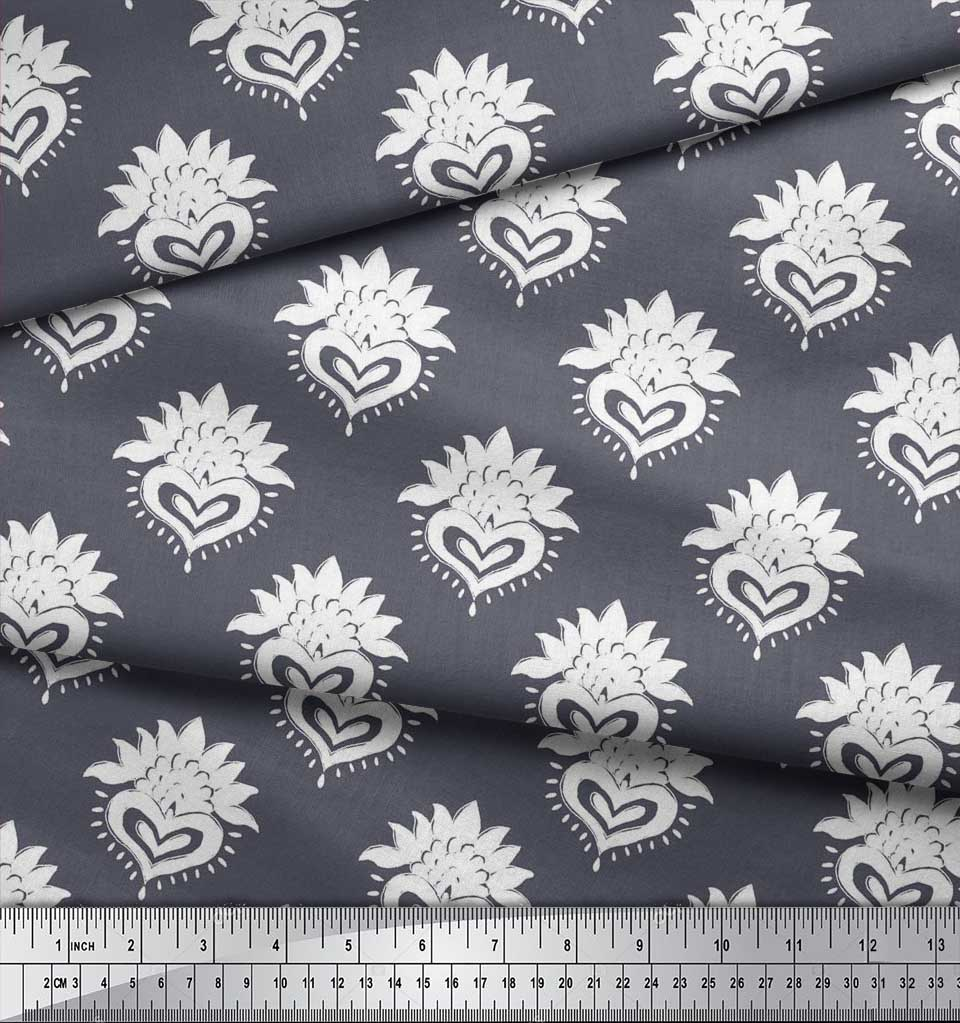 Soimoi-Cotton-Poplin-Fabric-Floral-Block-Print-Fabric-by-the-metre-bHE thumbnail 3