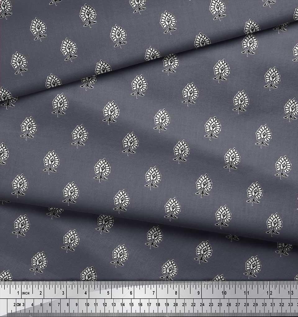 Soimoi-Cotton-Poplin-Fabric-Floral-Block-Decor-Fabric-Printed-metre-6GI thumbnail 3