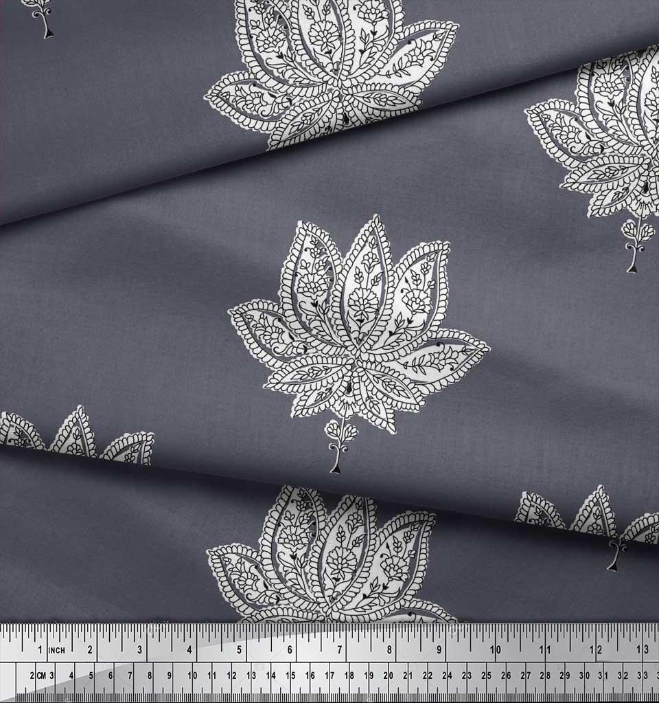 Soimoi-Cotton-Poplin-Fabric-Floral-Block-Print-Sewing-Fabric-metre-sxG thumbnail 3