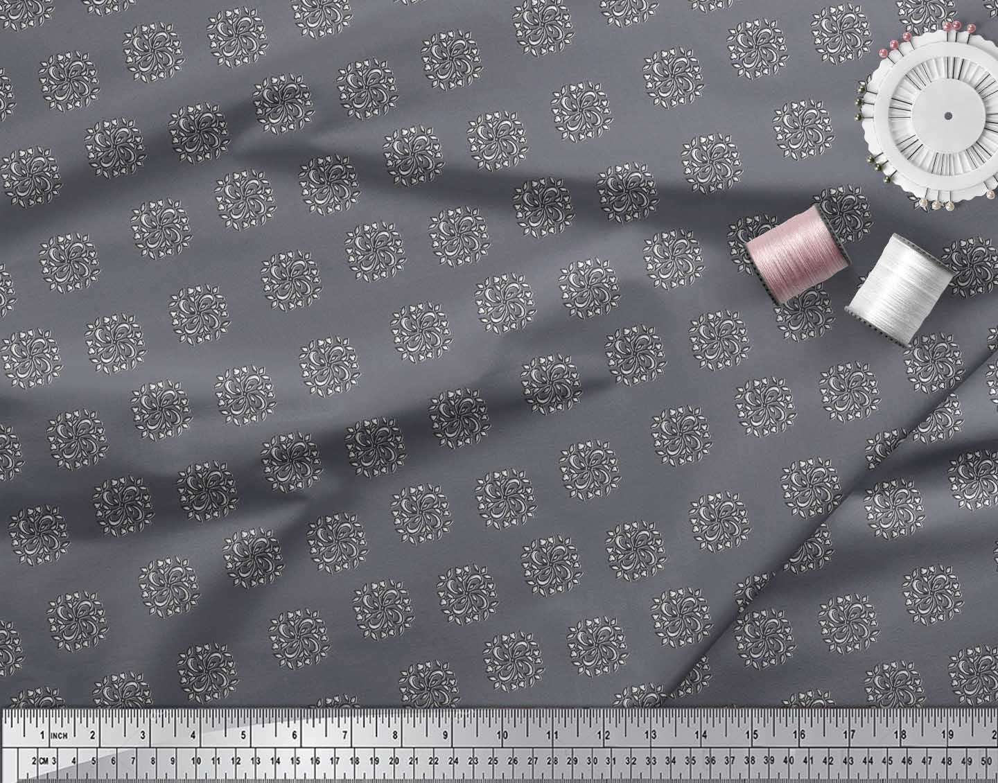 Soimoi-Cotton-Poplin-Fabric-Floral-Block-Print-Sewing-Fabric-metre-q9J thumbnail 4