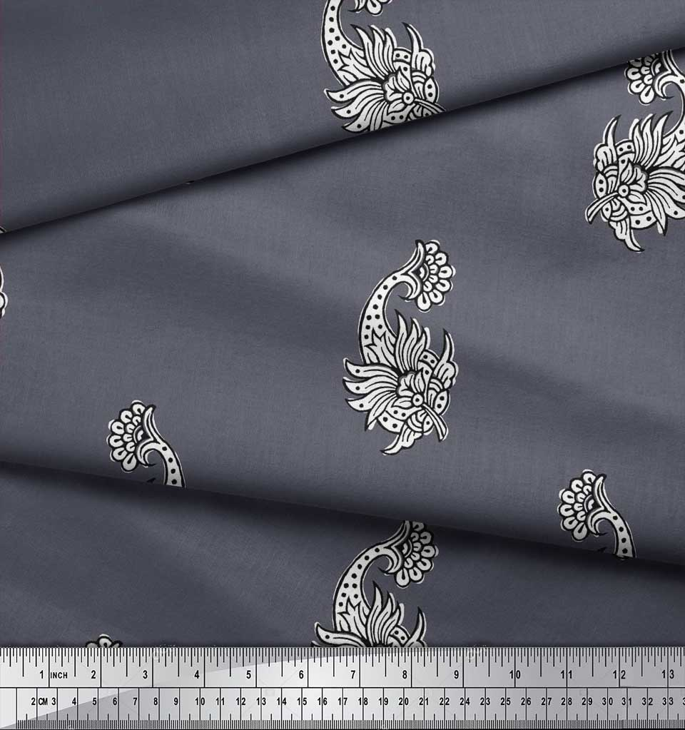 Soimoi-Cotton-Poplin-Fabric-Floral-Block-Printed-Fabric-1-metre-EIL thumbnail 3