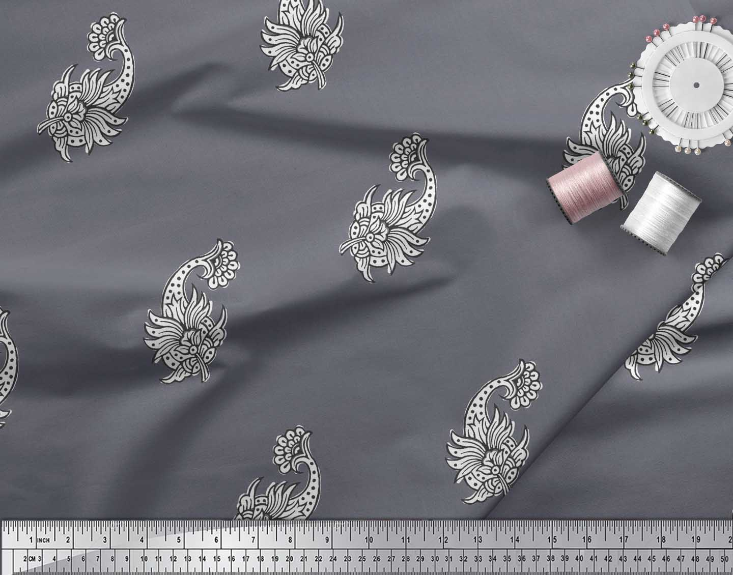 Soimoi-Cotton-Poplin-Fabric-Floral-Block-Printed-Fabric-1-metre-EIL thumbnail 4