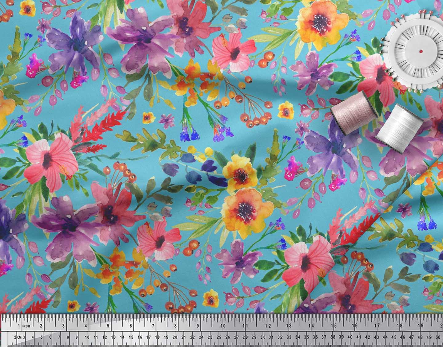 Soimoi-Blue-Cotton-Poplin-Fabric-Flower-amp-Leaves-Watercolor-Fabric-xfT thumbnail 4