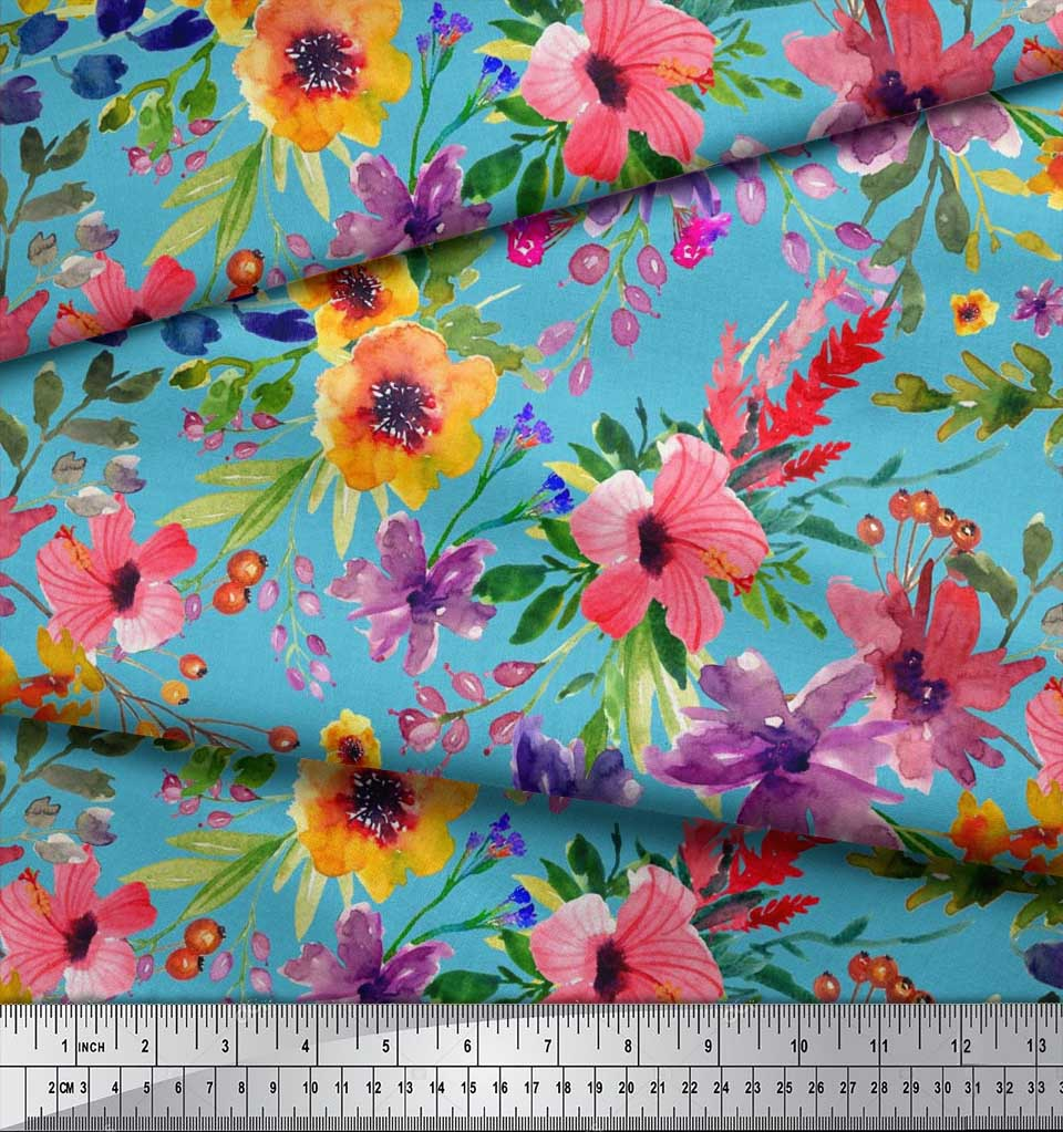 Soimoi-Blue-Cotton-Poplin-Fabric-Flower-amp-Leaves-Watercolor-Fabric-xfT thumbnail 3