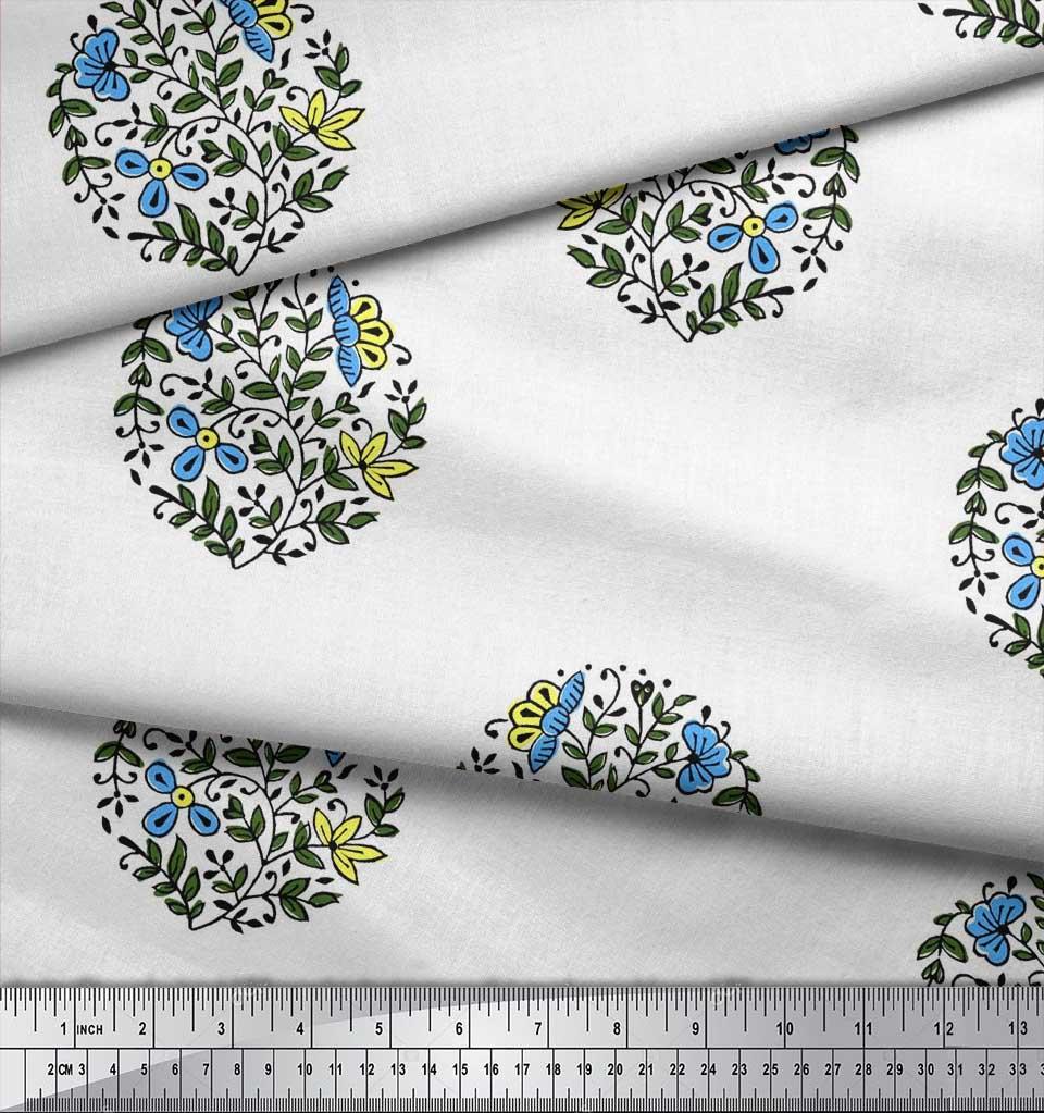 Soimoi-Fabric-Leaves-amp-Floral-Block-Print-Fabric-by-the-Yard-BP-101B thumbnail 7