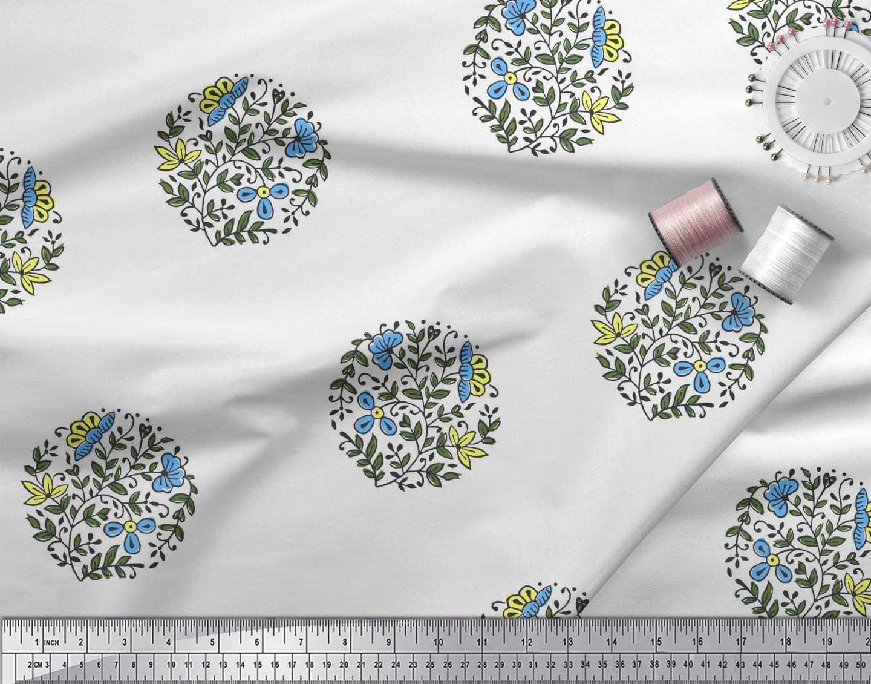 Soimoi-Fabric-Leaves-amp-Floral-Block-Print-Fabric-by-the-Yard-BP-101B thumbnail 6