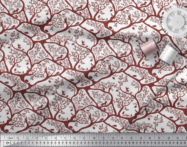 Soimoi-Fabric-Animal-amp-Tree-Print-Fabric-by-the-Yard-TR-586H thumbnail 10