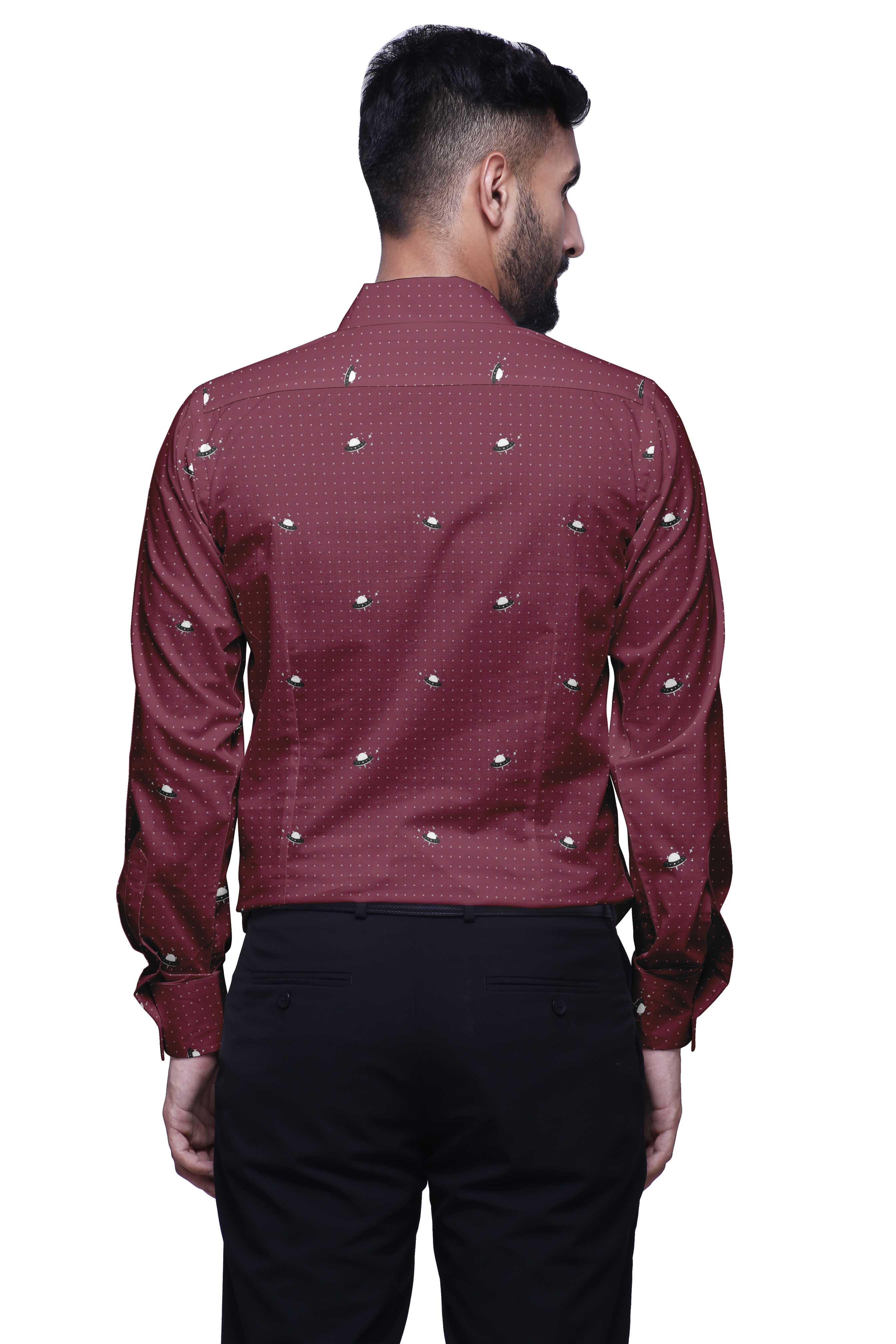 GRMO Men Printed Muslim Button Front Slim Long Sleeve Shirt