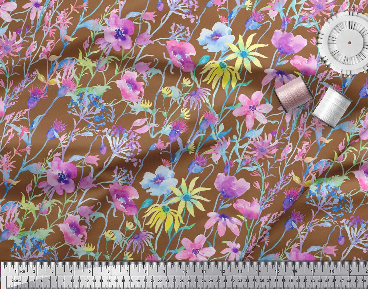 Soimoi-Brown-Cotton-Poplin-Fabric-Flower-Watercolor-Decor-Fabric-Z47 thumbnail 3
