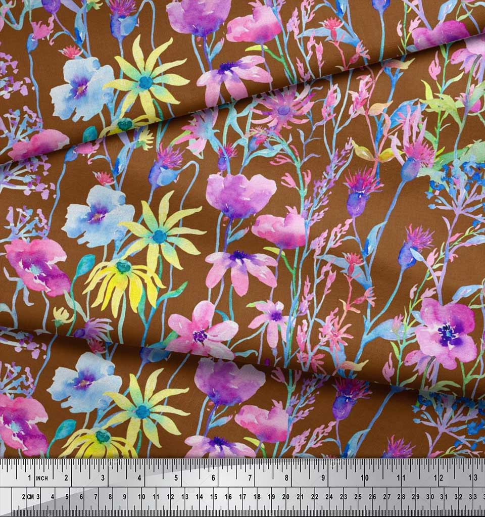 Soimoi-Brown-Cotton-Poplin-Fabric-Flower-Watercolor-Decor-Fabric-Z47 thumbnail 4