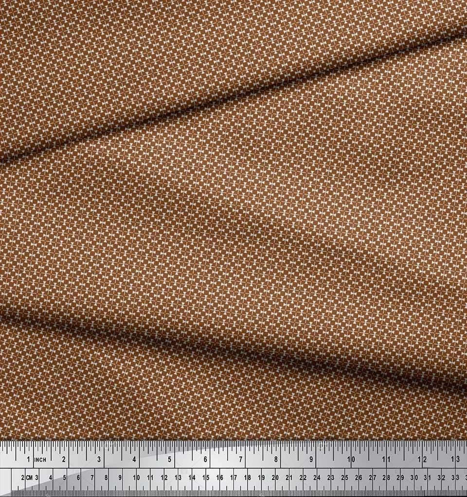 Soimoi-Brown-Cotton-Poplin-Fabric-Triangle-amp-Art-Geometric-Print-MSh thumbnail 3
