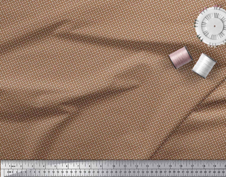 Soimoi-Brown-Cotton-Poplin-Fabric-Triangle-amp-Art-Geometric-Print-MSh thumbnail 4