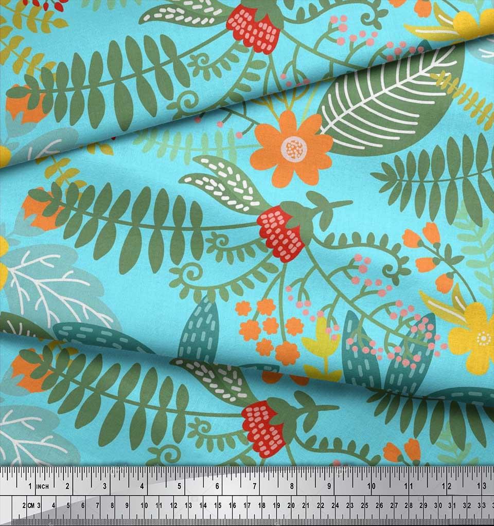 Soimoi-Cotton-Poplin-Fabric-Leaves-amp-Montara-Tetrarose-Artistic-5vm thumbnail 3