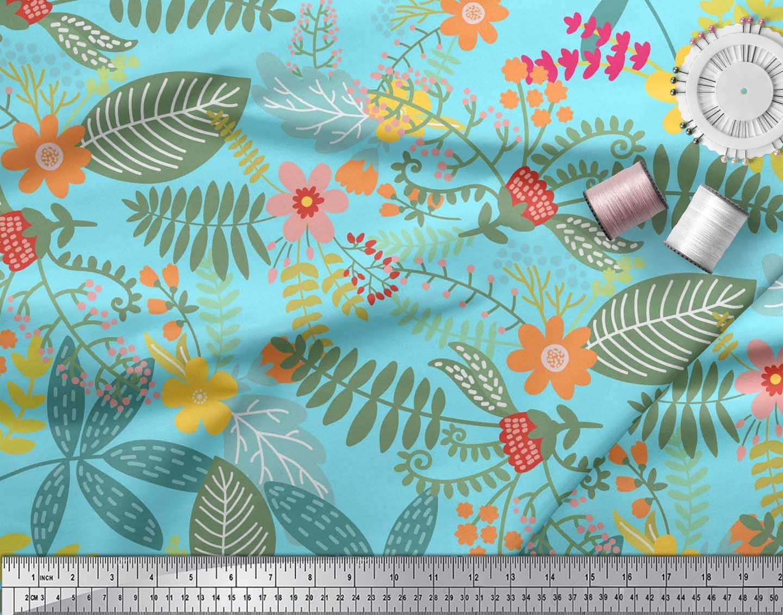 Soimoi-Cotton-Poplin-Fabric-Leaves-amp-Montara-Tetrarose-Artistic-5vm thumbnail 4