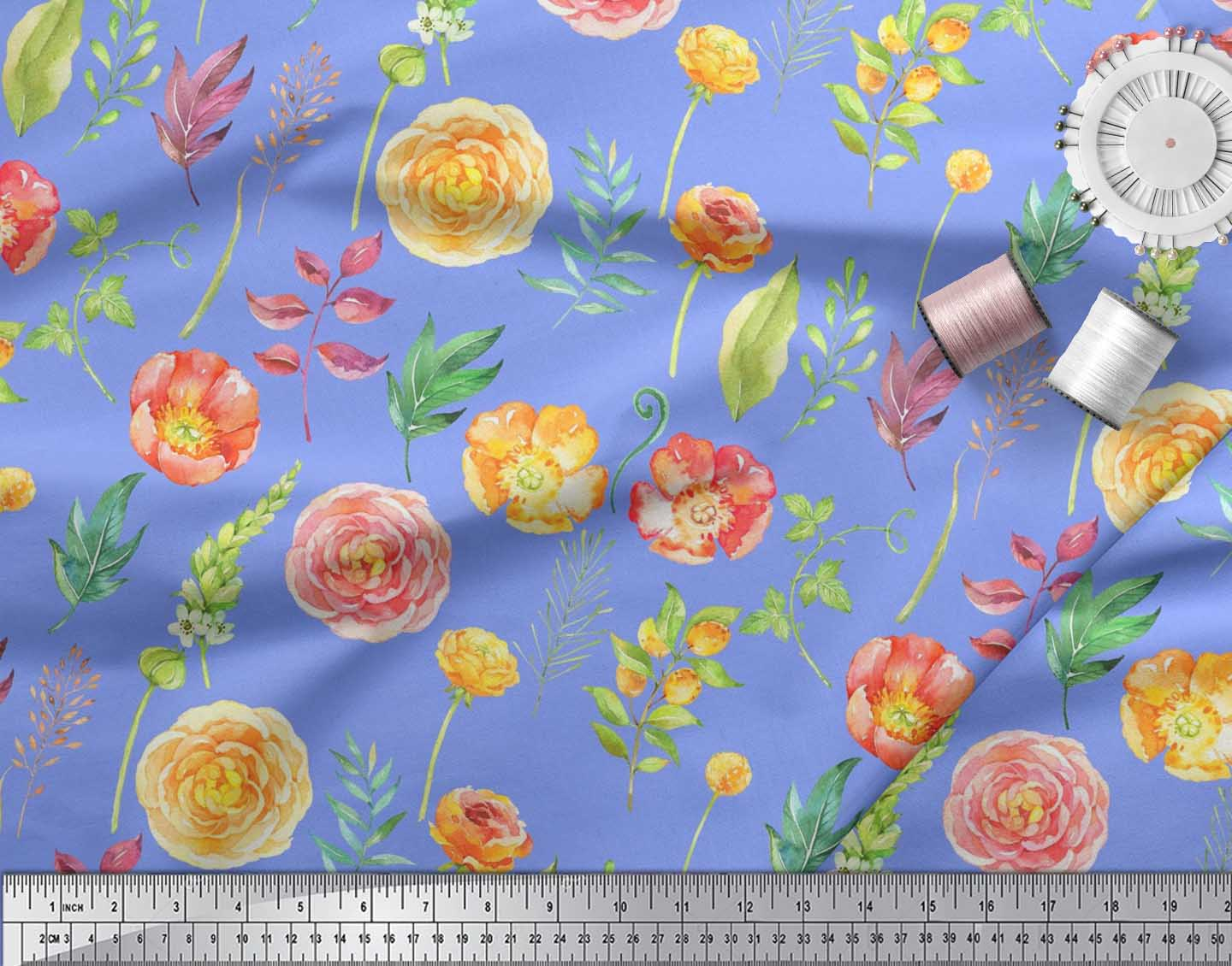 Soimoi-Cotton-Poplin-Fabric-Leaves-amp-Begonia-Floral-Decor-Fabric-uZy thumbnail 3