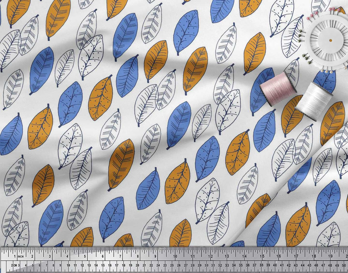 Soimoi-Cotton-Poplin-Fabric-Leaves-Block-Print-Sewing-Fabric-metre-ATV thumbnail 3