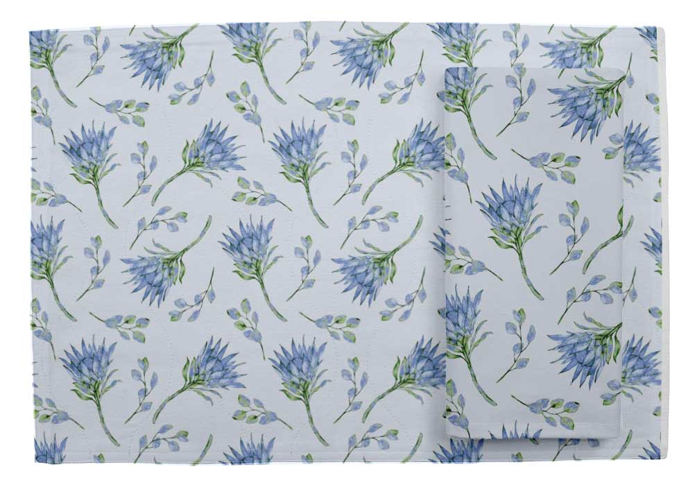 Details about  /S4Sassy Leaves /& Magnolia Floral Printed Tablemats With Napkins Set-FL-66D