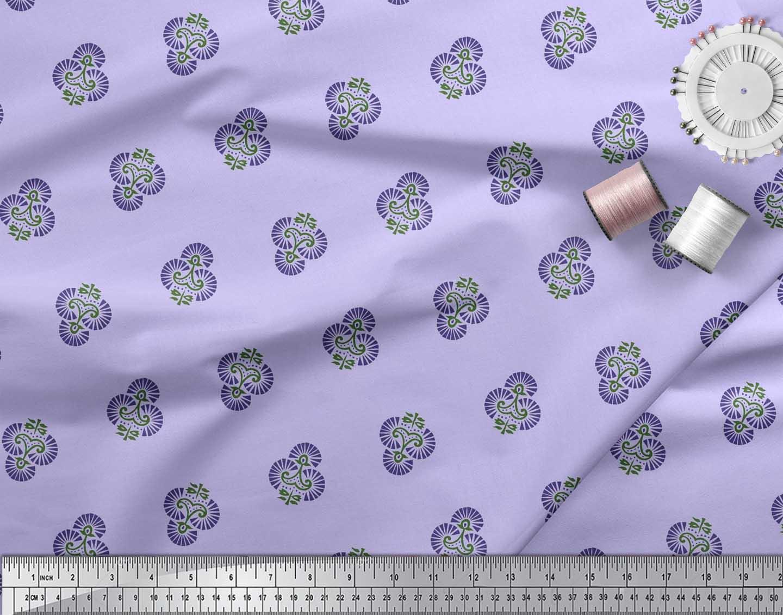Soimoi-Cotton-Poplin-Fabric-Floral-Block-Print-Sewing-Fabric-metre-Jji thumbnail 3