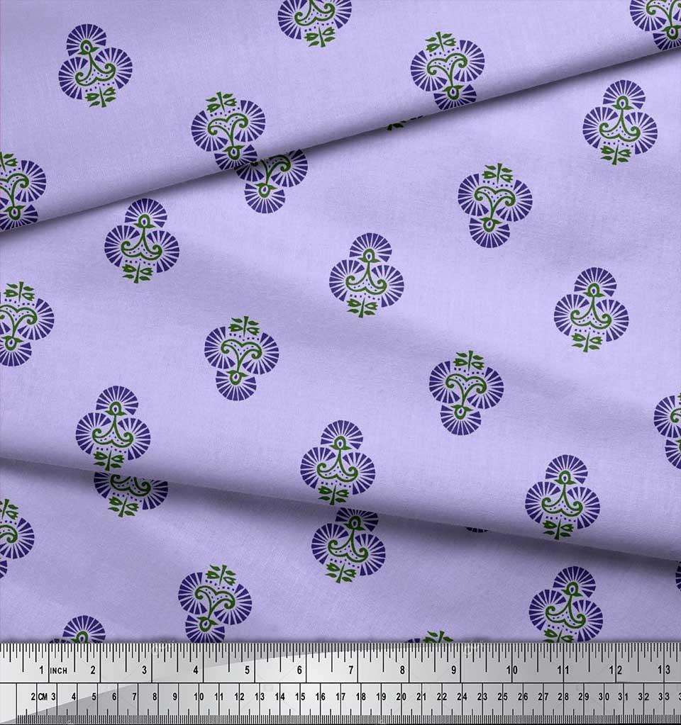 Soimoi-Cotton-Poplin-Fabric-Floral-Block-Print-Sewing-Fabric-metre-Jji thumbnail 4