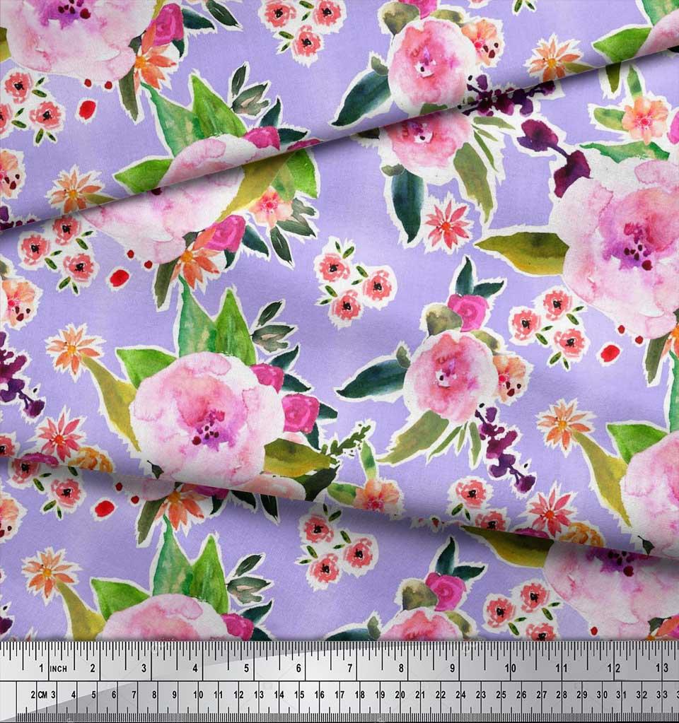 Soimoi-Purple-Cotton-Poplin-Fabric-Flower-amp-Leaves-Watercolor-Printed-ymp thumbnail 3