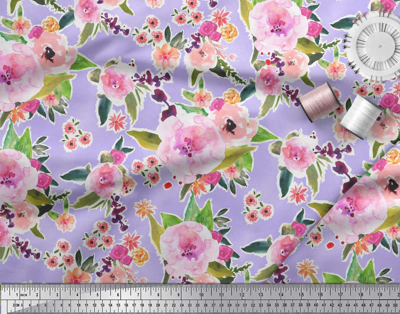 Soimoi-Purple-Cotton-Poplin-Fabric-Flower-amp-Leaves-Watercolor-Printed-ymp thumbnail 4