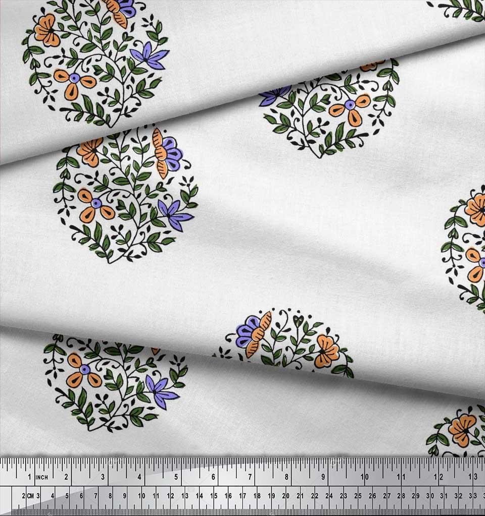 Soimoi-Fabric-Leaves-amp-Floral-Block-Print-Fabric-by-the-Yard-BP-101B thumbnail 3