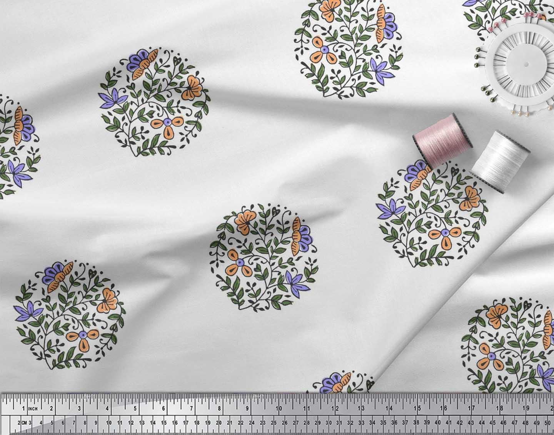 Soimoi-Fabric-Leaves-amp-Floral-Block-Print-Fabric-by-the-Yard-BP-101B thumbnail 4