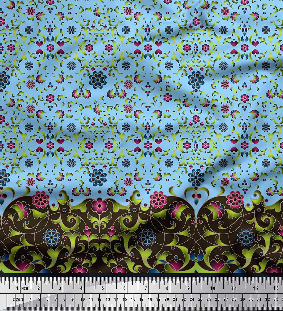 Soimoi-Cotton-Poplin-Fabric-Floral-amp-Leaves-Panel-Printed-Fabric-pGN thumbnail 3