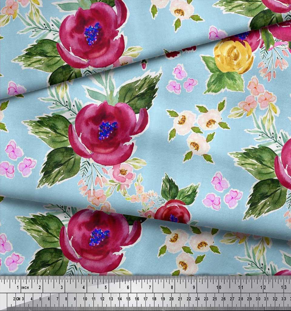 Soimoi-Blue-Cotton-Poplin-Fabric-Flower-amp-Leaves-Watercolor-Print-OZT thumbnail 4